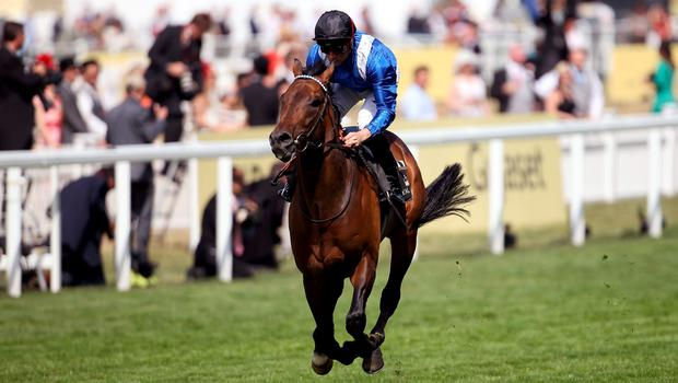 Muhaarar ridden by jockey Dane O'Neill on the way to winning the Commonwealth Cup during day four of the 2015 Royal Ascot Meeting