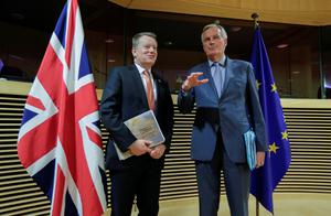 Ready for action: EU chief negotiator Michel Barnier and British counterpart David Frost before the start of trade deal talks. Photo: Oliver Hoslet