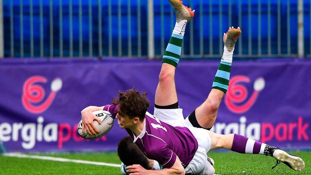 13 February 2020; Jacob Brodeur of St Gerards School scores a try despite the tackle of Charlie Reilly of Clongowes Wood College during the Bank of Ireland Leinster Schools Senior Cup Second Round match between Clongowes Wood College and St Gerard's School at Energia Park in Dublin. Photo by Matt Browne/Sportsfile