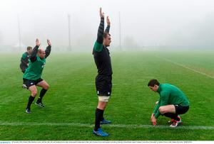 20 November 2014; Ireland's Rhys Ruddock, centre, with Rory Best, left, and Jonathan Sexton, right, during squad training ahead of their side's Guinness Series match against Australia on Saturday. Ireland Rugby Squad Training, Carton House, Maynooth, Co. Kildare. Picture credit: Stephen McCarthy / SPORTSFILE