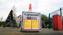 Out of bounds: The playground which is closed in St Stephen's Green, Dublin, due to Covid-19. Photo: Gareth Chaney, Collins