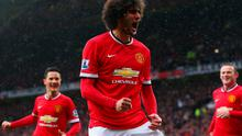 Marouanne Fellaini celebrates his goal against Manchester City at Old Trafford