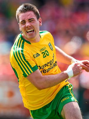 14 June 2015; Martin O'Reilly, Donegal, celebrates after scoring his side's goal of the game. Ulster GAA Football Senior Championship Quarter-Final, Armagh v Donegal. Athletic Grounds, Armagh. Picture credit: Brendan Moran / SPORTSFILE