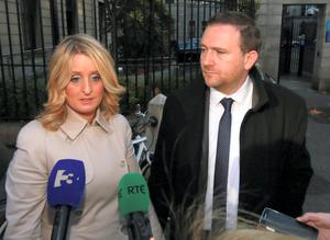 Roisin and Mark Molloy from Castlebrack, Killeigh, Co. Offaly pictured speaking to the media outside the Four Courts yesterday (Wed) after a settlement in their High Court action for damages. Picture: Collins Courts