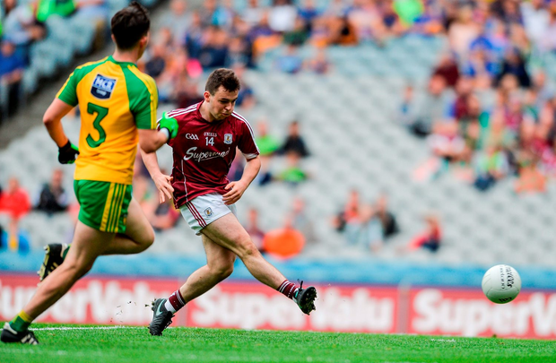 Desmond Conneely of Galway scoring his side's first goal. Photo: Sportsfile