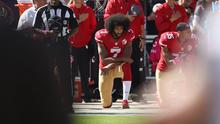 Last season the protests had entirely fizzled out and Kaepernick, effectively boycotted by the league's clubs, was a prophet crying in the wilderness'.  Photo: Ezra Shaw/Getty Images