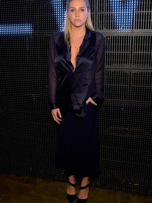 Singer Kesha attends the DKNY fashion show during Mercedes-Benz Fashion Week Fall 2015 on February 15, 2015 in New York City.  (Photo by Michael Loccisano/Getty Images for Mercedes-Benz Fashion Week)