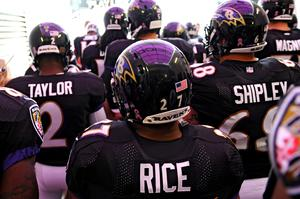 BALTIMORE, MD - OCTOBER 13: Running back Ray Rice #27 of the Baltimore Ravens stands in the tunnel before being introduced in an NFL game against the Green Bay Packers at M&T Bank Stadium on October 13, 2013 in Baltimore, Maryland. (Photo by Patrick Smith/Getty Images)
