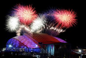 Fireworks are seen over the Olympic Park during the opening ceremony of the 2014 Sochi Winter Olympics,