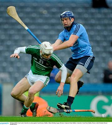 28 March 2015; Cian Lynch, Limerick, in action against Conal Keaney, Dublin. Allianz Hurling League, Division 1, Quarter-Final, Dublin v Limerick. Croke Park, Dublin. Picture credit: Brendan Moran / SPORTSFILE