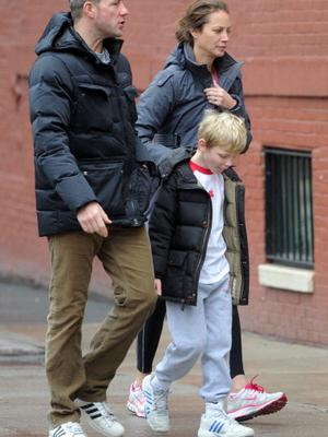 NEW YORK, NY - DECEMBER 06: Edward Burns and Christy Turlington with their son, Finn Burns are seen on December 06, 2013 in New York City.  (Photo by Mario Magnani/Bauer-Griffin/GC Images)