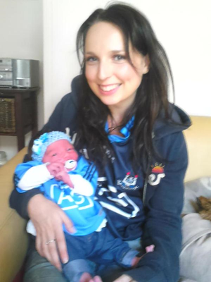 Dublins biggest supporter Olivia-Belle, her first game at 6 days old DubsVkildare Credit: Sarah Kearney via Twitter