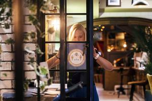 As pubs serving food reopen on Monday 29th June, publicans spent the weekend getting ready to welcome back their regulars. Customers will see changes to their local, including hand sanitisers, screens between tables and safety signs. Photo: Clare Keogh