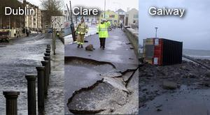 Damage as a result of flooding in counties across Ireland
