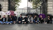 Students protesting outside Leinster House Photo: Union of Students in Ireland