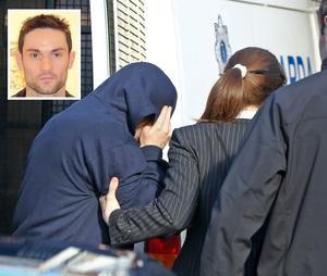 Eric Locke (and inset) arriving at Tallaght District Court yesterday