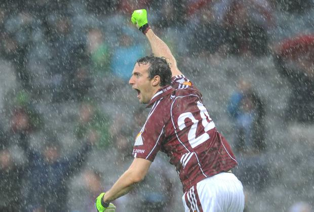 Joe Bergin punches the air after scoring a goal for Galway during their epic All-Ireland quarter-final against Kerry