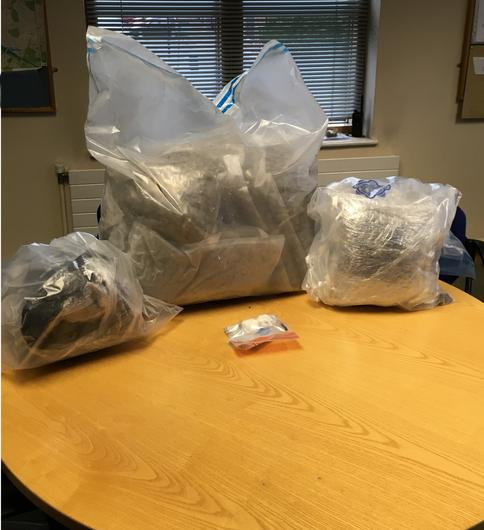 A total of €140,000 worth of suspected cannabis was seized. Credit: An Garda Siochana