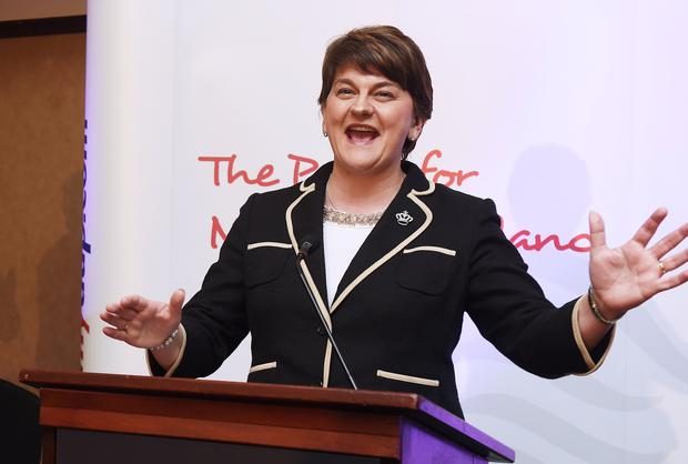 DUP leader and First Minister Arlene Foster, said the idea of a champagne reception had been 'lost in translation'. Photo by Charles McQuillan/Getty Images