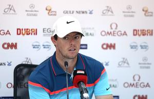 Rory McIlroy addresses a press conference ahead of the Omega Dubai Desert Classic