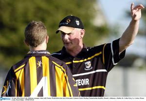 26 June 2004; Brian Cody, Kilkenny manager, chats with Tommy Walsh before the start of the game. Guinness Senior Hurling Championship Qualifier, Round 1, Kilkenny v Dublin, Dr. Cullen Park, Co. Carlow. Picture credit; David Maher / SPORTSFILE