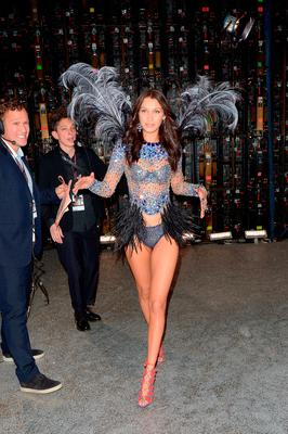 Bella Hadid walks off the runway during the Victoria's Secret Fashion Show on November 30, 2016 in Paris, France.  (Photo by Dominique Charriau/Getty Images for Victoria's Secret)