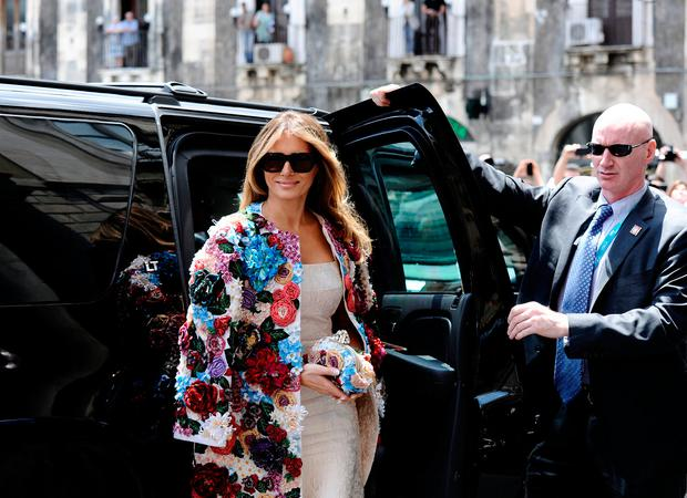 U.S. first lady Melania Trump arrives in Duomo's square in the Sicilian town of Catania, Italy, May 26, 2017. REUTERS/Guglielmo Mangiapane