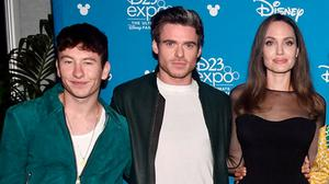 A-listers: At an Eternals event were Keoghan, co-star Richard Madden, and Jolie. Photo: Alberto E. Rodriguez/Getty Images for Disney