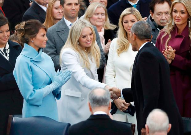 President Barack Obama greets (L-R) Melania, Tifffany and Ivanka Trump prior to the inauguration of Donald Trump as the 45th president of the United States on the West front of the U.S. Capitol in Washington, U.S., January 20, 2017. REUTERS/Lucy Nicholson