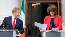Taoiseach Enda Kenny TD and the Tanaiste & Minister for Social Protection Joan Burton T.D. Photo: Gareth Chaney Collins