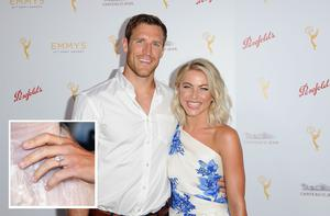 BEVERLY HILLS, CA - AUGUST 30:  Dancer Julianne Hough (R) and her fiance, NHL player Brooks Laich arrive at the Television Academy's cocktail reception for The 67th Emmy Award Nominees for Outstanding Choreography at Montage Beverly Hills on August 30, 2015 in Beverly Hills, California.  (Photo by Angela Weiss/Getty Images)