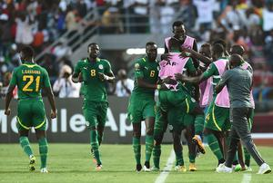 The Senegal players celebrate after Moussa Sow's late winner in their African Cup of Nations clash with Ghana in Mongomo. Photo: AFP PHOTO / CARL DE SOUZACARL DE SOUZA/AFP/Getty Images