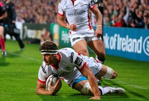 Robbie Diack dives over to score Ulster's third try. John Dickson / SPORTSFILE