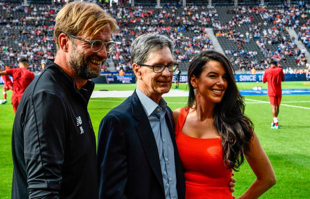 Liverpool boss Jurgen Klopp (left), the club's co-owner John Henry and his wife Linda Pizzuti Henry. Photo: AFP via Getty Images