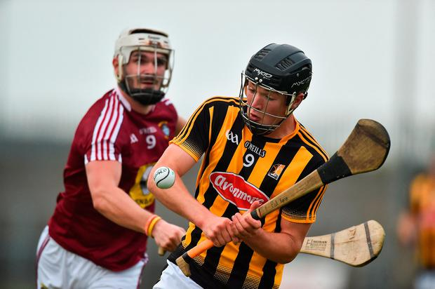 Pat Lyng of Kilkenny in action against Shane Clavin of Westmeath. Photo by David Maher/Sportsfile