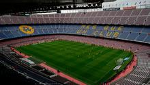Spanish La Liga soccer match between Barcelona and Las Palmas is played at the Camp Nou stadium in Barcelona