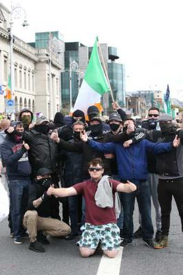 Anti-lockdown and anti-mask protesters at Custom House Dublin Pic: Stephen Collins/Collins Photos