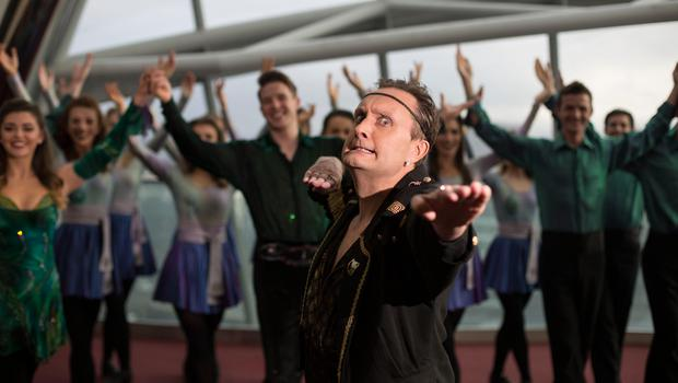 Mario Rosenstock as Michael Flatley at Haven's charity event with members of the Riverdance team Photo:Mark Condren