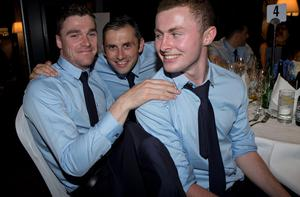 Dublin's  Paddy Andrews with Alan Brogan and Jack Mc Caffrey at the Winners Banquet in The Gibson Hotel
