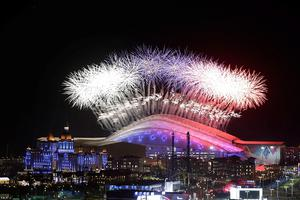A general view of fireworks over Fisht Olympic Stadium during the Opening Ceremony of the Sochi 2014 Winter Olympics