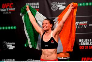 Aisling Daly weighs in for her strawweight bout against Ericka Almeida. UFC Fight Night Weigh In. 3Arena, Dublin. Picture credit: Ramsey Cardy / SPORTSFILE