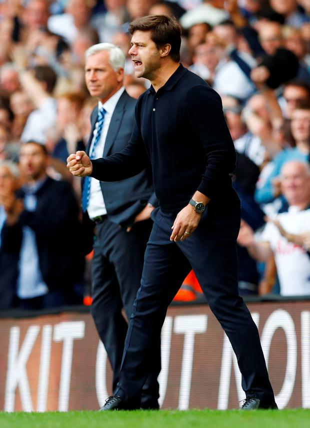 Tottenham manager Mauricio Pochettino celebrates after Victor Wanyama scores their first goal Photo: Reuters / Eddie Keogh