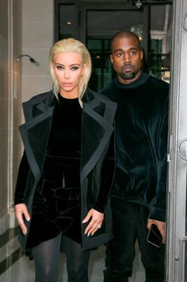 Kim Kardashian West and Kanye West are seen on March 5, 2015 in Paris, France.  (Photo by Marc Piasecki/GC Images)