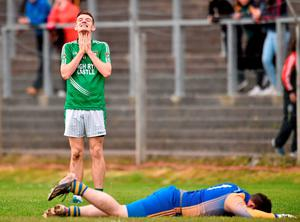 Shane Quinn, Mohill, shows his disappointment after his shot went narrowly wide