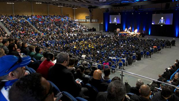 Thousands of people attend the funeral of former New Zealand All Black rugby union player Jerry Collins in Porirua, New Zealand