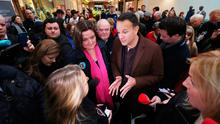 Taoiseach Leo Varadkar and Fine Gael candidate Gabrielle McFadden during a canvass at  Sheraton Shopping Centre in Athlone, Co West Meath. PA Photo