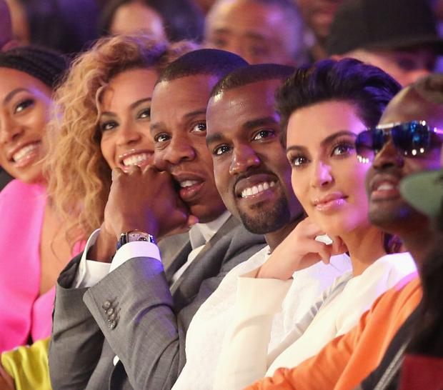 Singer Beyonce, rappers Jay-Z and Kanye West and television personality Kim Kardashian (Photo by Christopher Polk/Getty Images For BET)