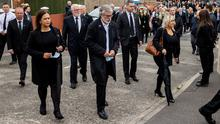 (left to right) Sinn Fein leader Mary Lou McDonald, former Sinn Fein leader Gerry Adams, and Deputy First Minister Michelle O'Neill arrive at St Agnes' Church in west Belfast for the funeral of senior Irish Republican and former leading IRA figure Bobby Storey : Liam McBurney/PA Wire