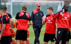 Jurgen Klopp manager of Liverpool during a training session at Melwood Training Ground