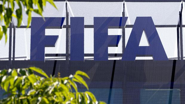 The logo of soccer's international governing body FIFA is seen on its headquarters in Zurich, Switzerland